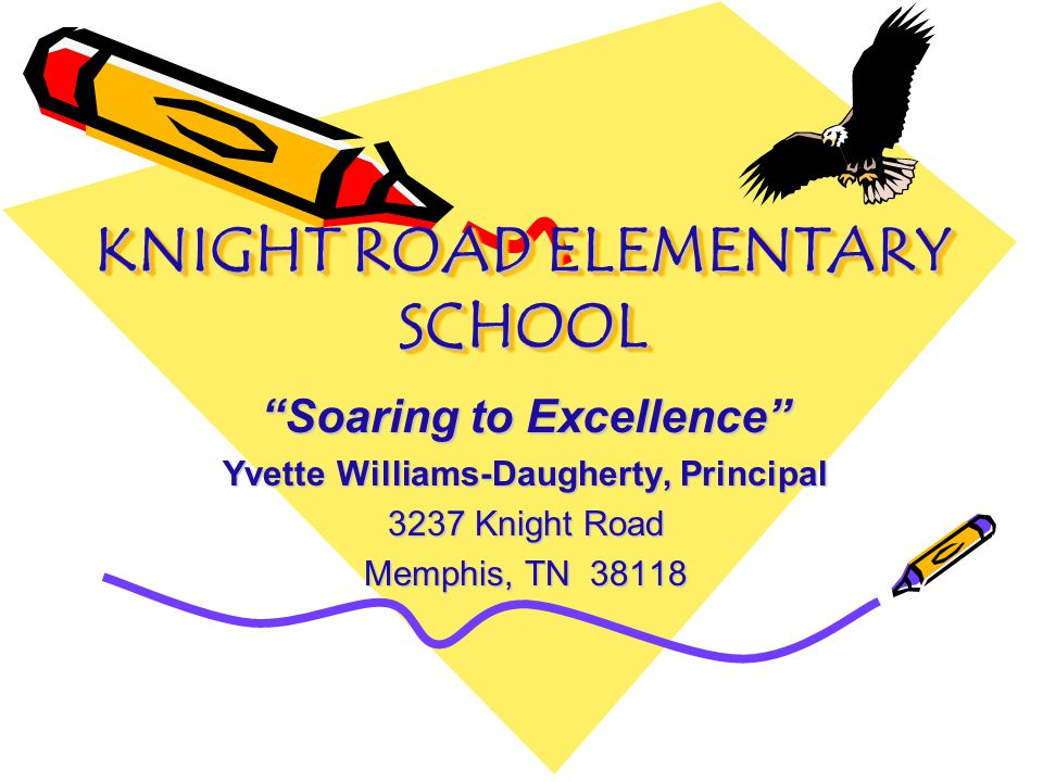 KNIGHT ROAD ELEMENTARY SCHOOL Soaring to Excellence Yvette Williams-Daugherty, Principal 3237 Knight Road Memphis, TN 38118