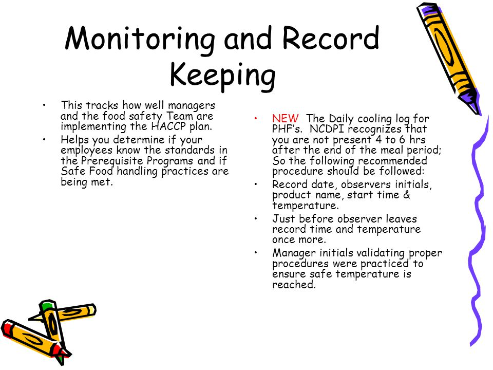 Monitoring and Record Keeping continued.