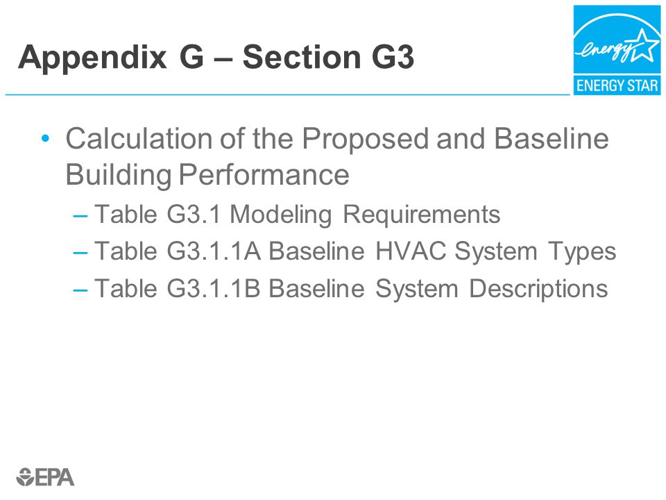 Appendix G – Section G3 Calculation of the Proposed and Baseline Building Performance –Table G3.1 Modeling Requirements –Table G3.1.1A Baseline HVAC System Types –Table G3.1.1B Baseline System Descriptions