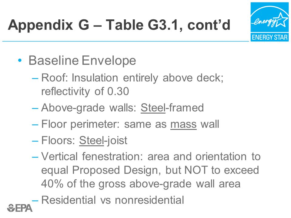 Appendix G – Table G3.1, cont'd Baseline Envelope –Roof: Insulation entirely above deck; reflectivity of 0.30 –Above-grade walls: Steel-framed –Floor perimeter: same as mass wall –Floors: Steel-joist –Vertical fenestration: area and orientation to equal Proposed Design, but NOT to exceed 40% of the gross above-grade wall area –Residential vs nonresidential