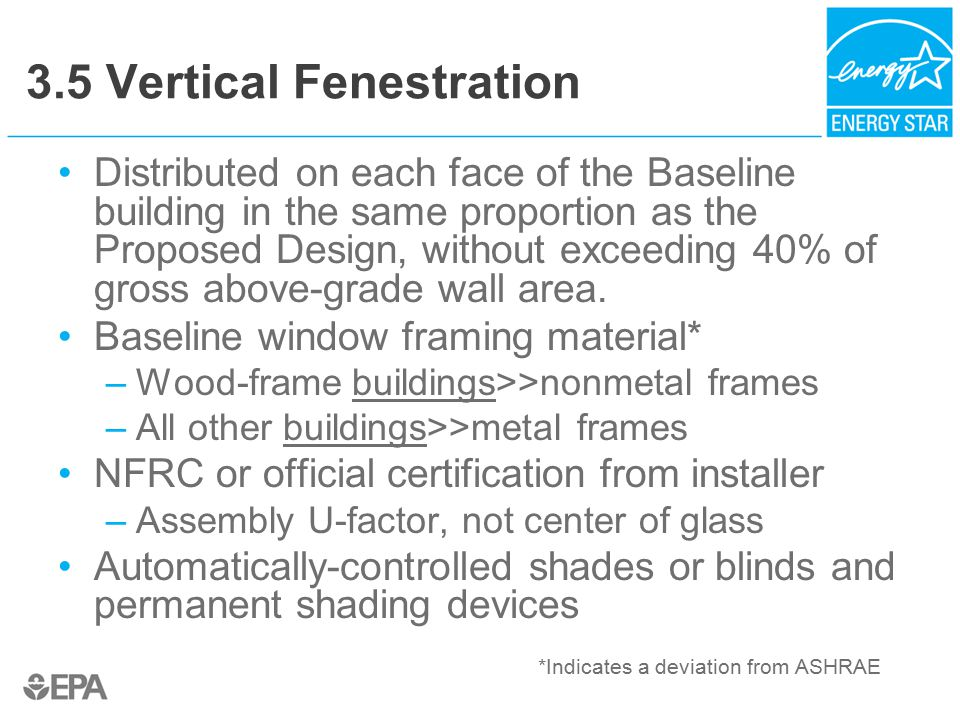 3.5 Vertical Fenestration Distributed on each face of the Baseline building in the same proportion as the Proposed Design, without exceeding 40% of gross above-grade wall area.