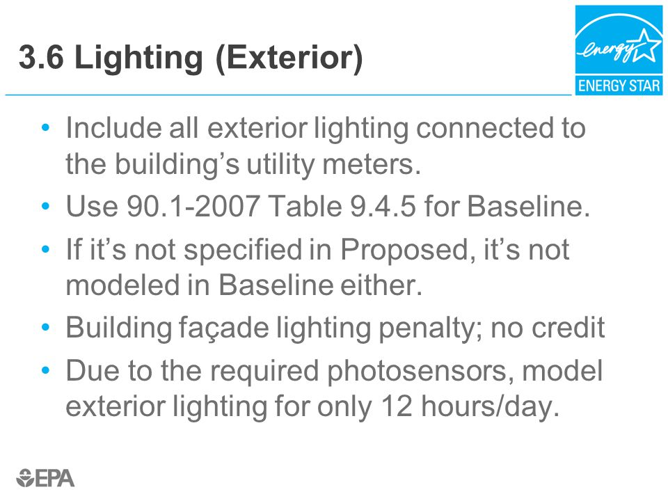 3.6 Lighting (Exterior) Include all exterior lighting connected to the building's utility meters.