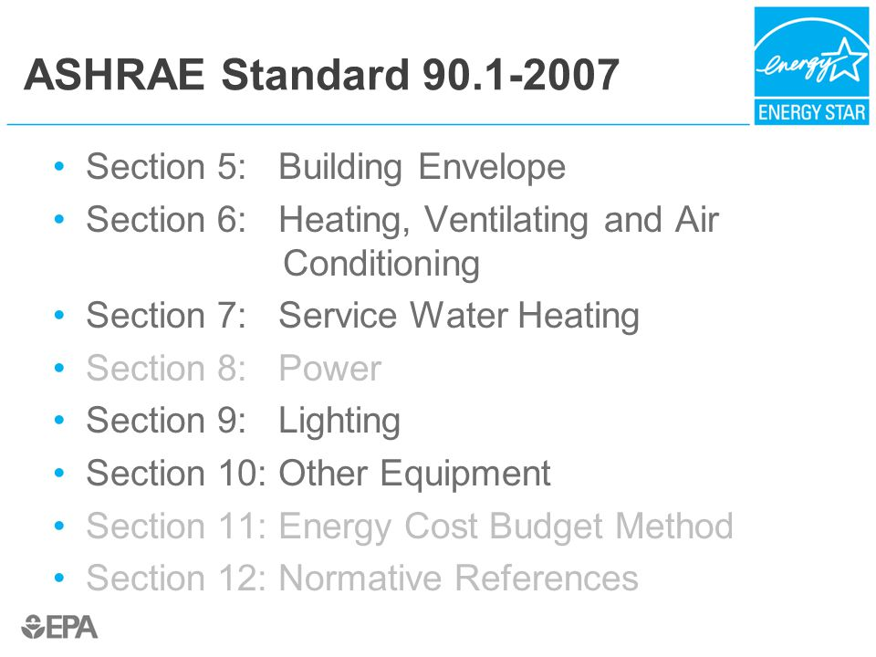 ASHRAE Standard 90.1-2007 Section 5: Building Envelope Section 6: Heating, Ventilating and Air Conditioning Section 7: Service Water Heating Section 8: Power Section 9: Lighting Section 10: Other Equipment Section 11: Energy Cost Budget Method Section 12: Normative References