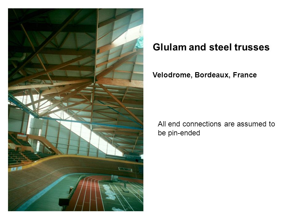 Glulam and steel trusses Velodrome, Bordeaux, France All end connections are assumed to be pin-ended