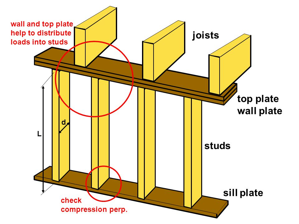 sill plate d L studs top plate wall plate joists check compression perp.