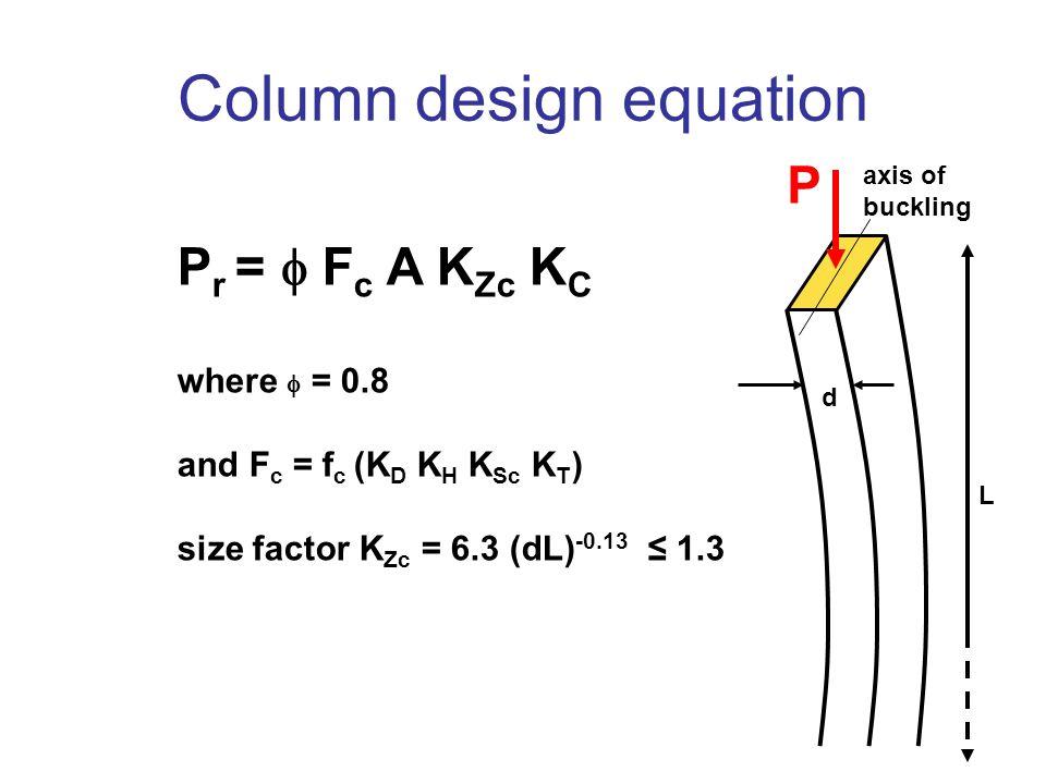 Column design equation P r =  F c A K Zc K C where  = 0.8 and F c = f c (K D K H K Sc K T ) size factor K Zc = 6.3 (dL) -0.13 ≤ 1.3 d L axis of buckling P