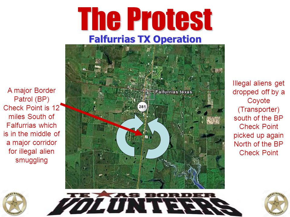 The Protest Falfurrias TX Operation A major Border Patrol (BP) Check Point is 12 miles South of Falfurrias which is in the middle of a major corridor