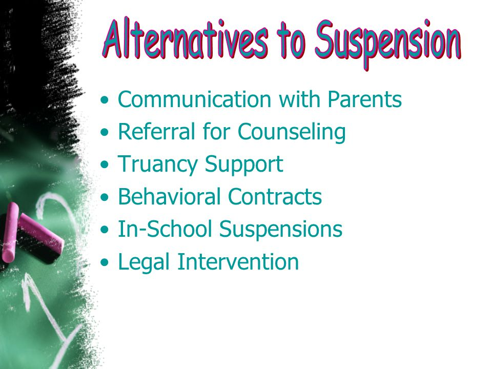 Communication with Parents Referral for Counseling Truancy Support Behavioral Contracts In-School Suspensions Legal Intervention