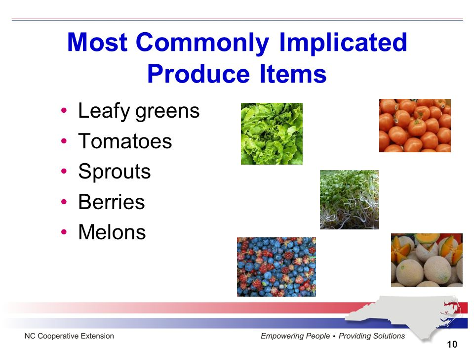 10 Most Commonly Implicated Produce Items Leafy greens Tomatoes Sprouts Berries Melons