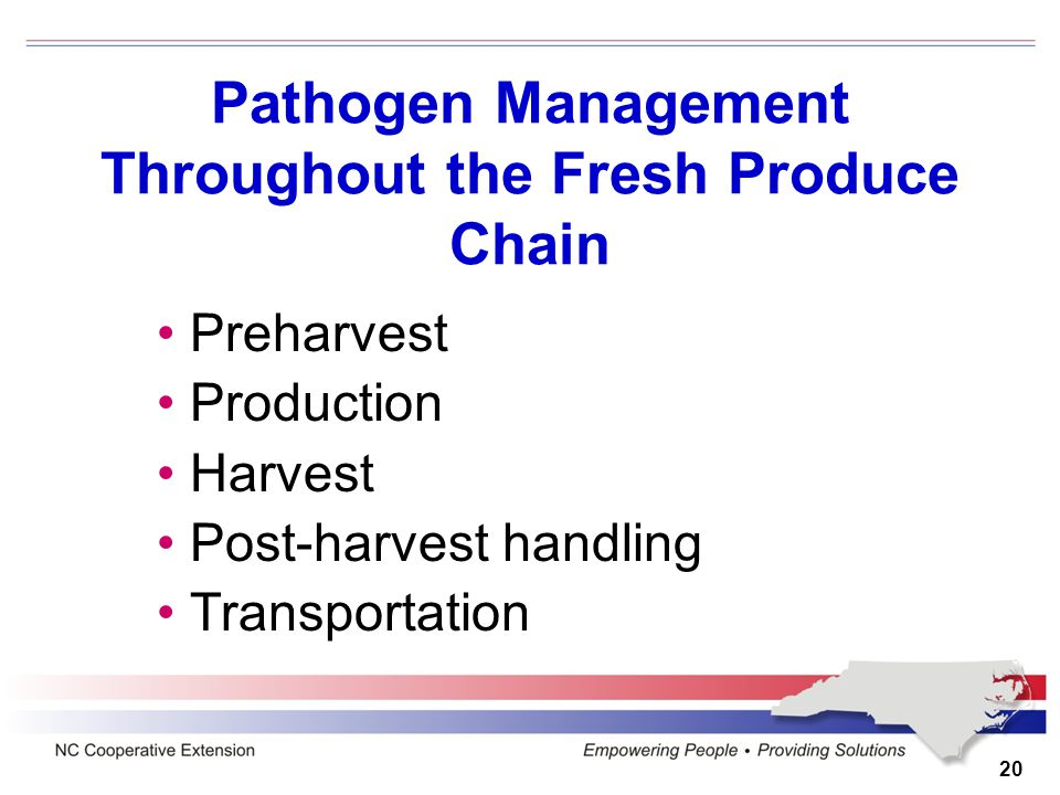 20 Pathogen Management Throughout the Fresh Produce Chain Preharvest Production Harvest Post-harvest handling Transportation