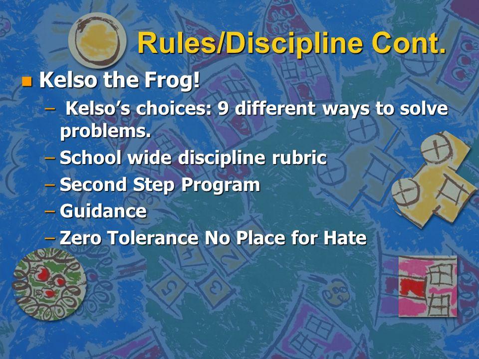 Rules/Discipline Cont.