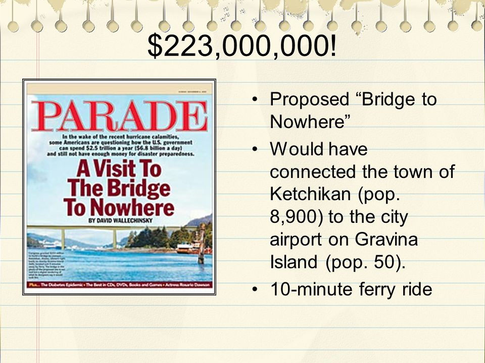 $223,000,000. Proposed Bridge to Nowhere Would have connected the town of Ketchikan (pop.