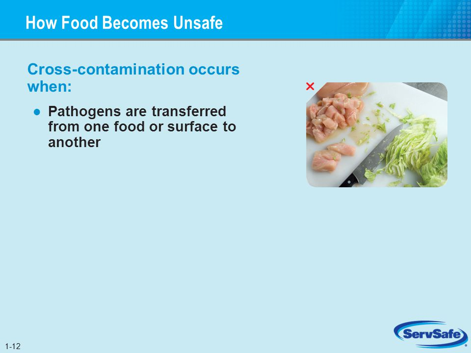 Cross-contamination occurs when: Pathogens are transferred from one food or surface to another How Food Becomes Unsafe 1-12