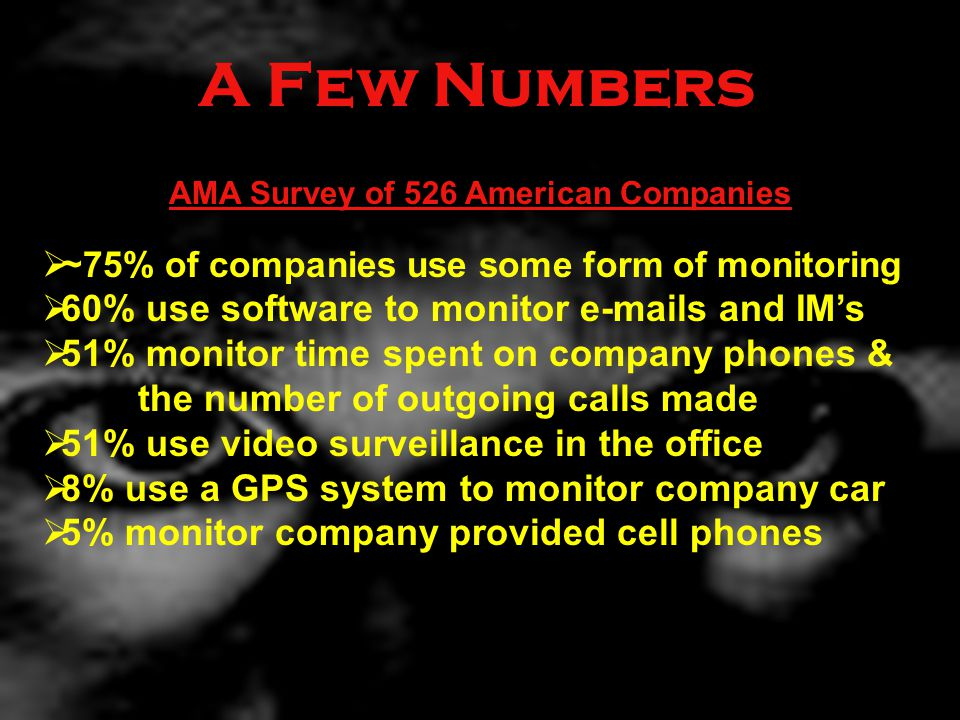 A Few Numbers AMA Survey of 526 American Companies  ~ 75% of companies use some form of monitoring  60% use software to monitor e-mails and IM's  51% monitor time spent on company phones & the number of outgoing calls made  51% use video surveillance in the office  8% use a GPS system to monitor company car  5% monitor company provided cell phones
