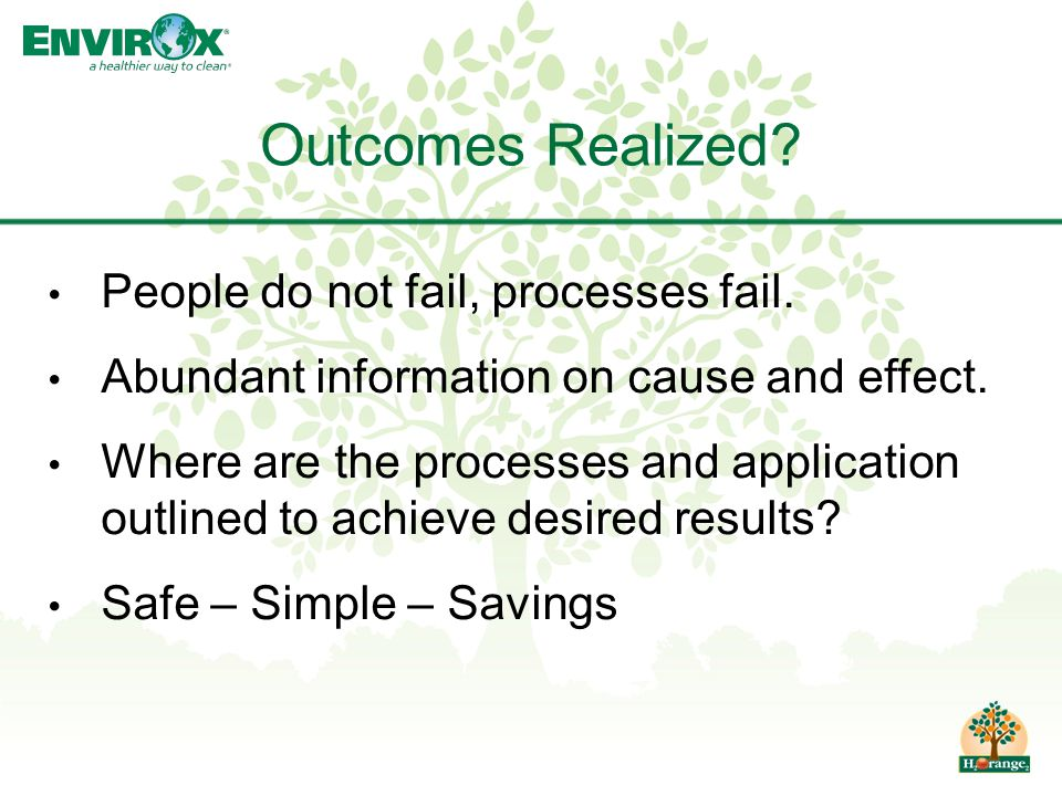 People do not fail, processes fail. Abundant information on cause and effect.