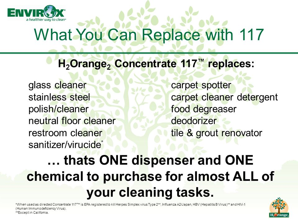 What You Can Replace with 117 glass cleaner stainless steel polish/cleaner neutral floor cleaner restroom cleaner sanitizer/virucide * … thats ONE dispenser and ONE chemical to purchase for almost ALL of your cleaning tasks.