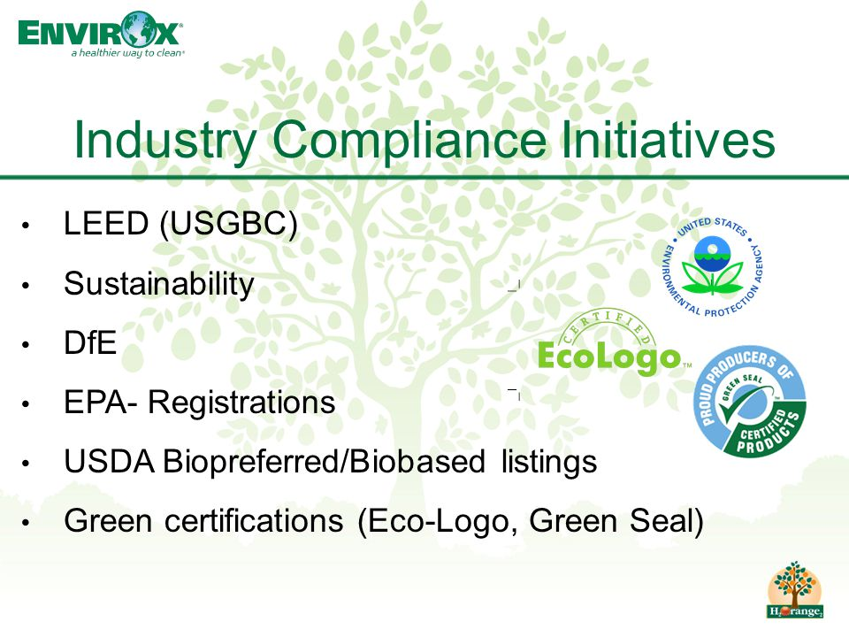 LEED (USGBC) Sustainability DfE EPA- Registrations USDA Biopreferred/Biobased listings Green certifications (Eco-Logo, Green Seal) Industry Compliance Initiatives