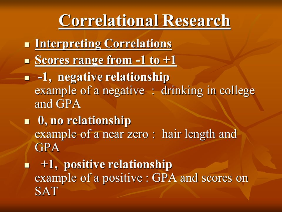Correlational Research Interpreting Correlations Interpreting Correlations Scores range from -1 to +1 Scores range from -1 to +1 -1, negative relation