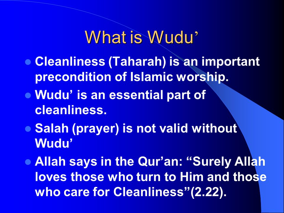 First Step of Wudu ' First make Niyyah (Intention) that you are making Wudu for Salah and begin saying.