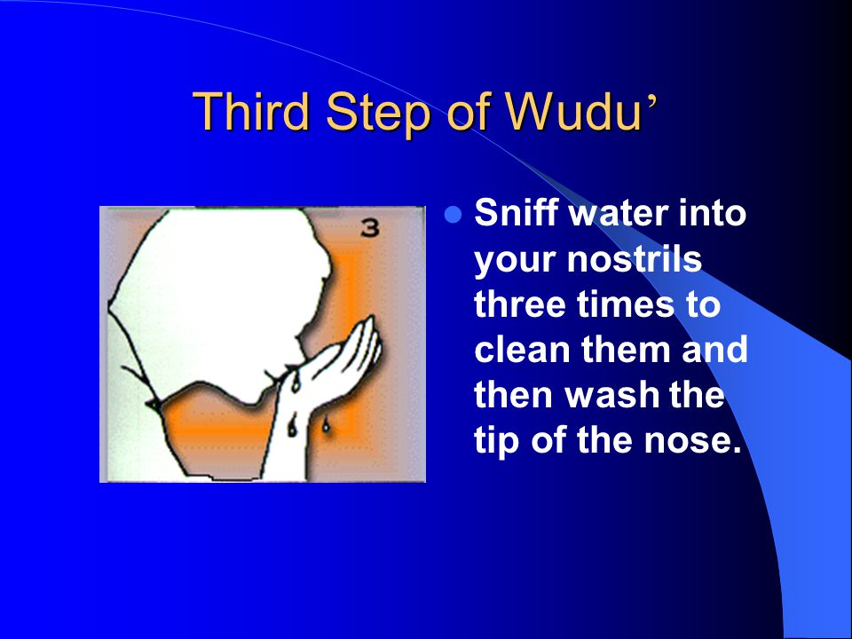 Third Step of Wudu ' Sniff water into your nostrils three times to clean them and then wash the tip of the nose.