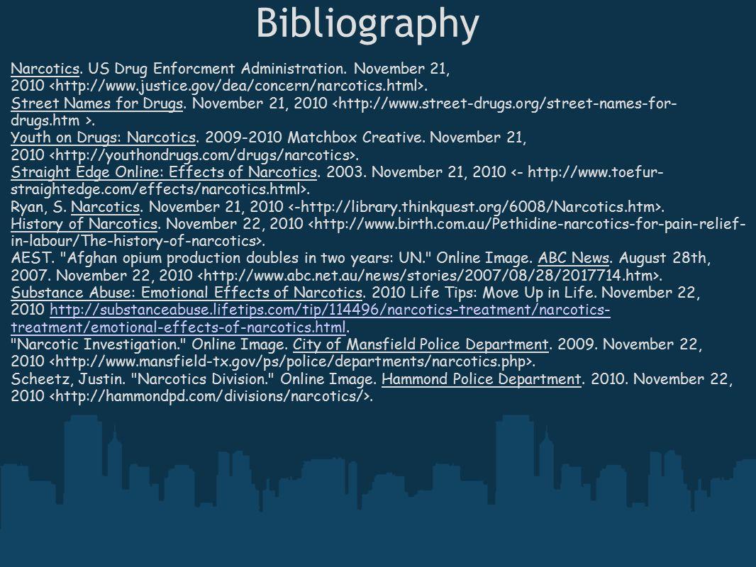 Bibliography Narcotics. US Drug Enforcment Administration. November 21, 2010. Street Names for Drugs. November 21, 2010. Youth on Drugs: Narcotics. 20
