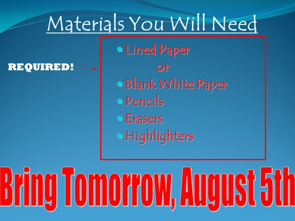 Materials You Will Need Lined Paper Lined Paper or or Blank White Paper Blank White Paper Pencils Pencils Erasers Erasers Highlighters Highlighters REQUIRED!