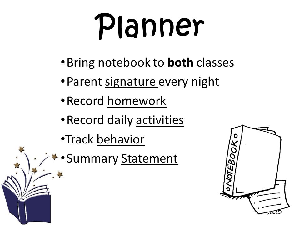 Planner Bring notebook to both classes Parent signature every night Record homework Record daily activities Track behavior Summary Statement