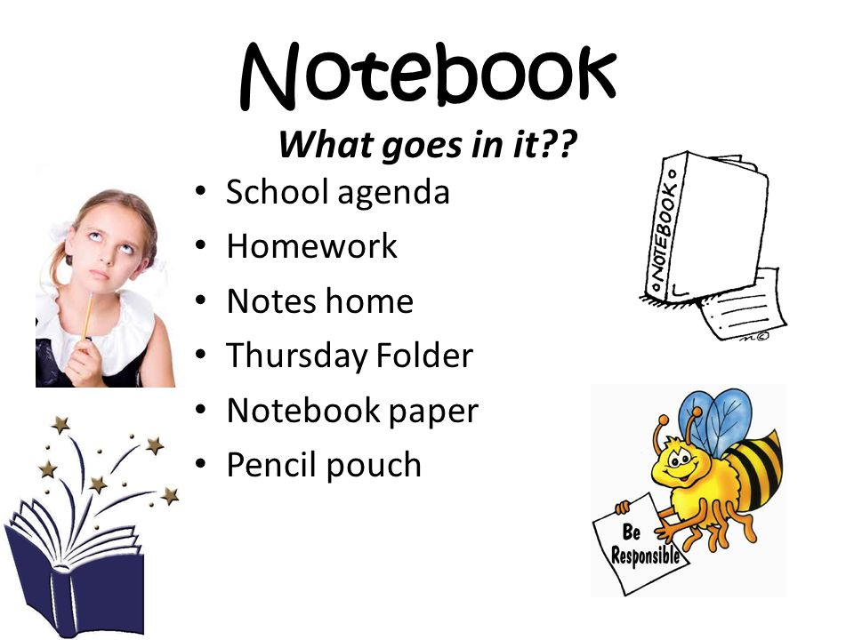 Notebook School agenda Homework Notes home Thursday Folder Notebook paper Pencil pouch What goes in it