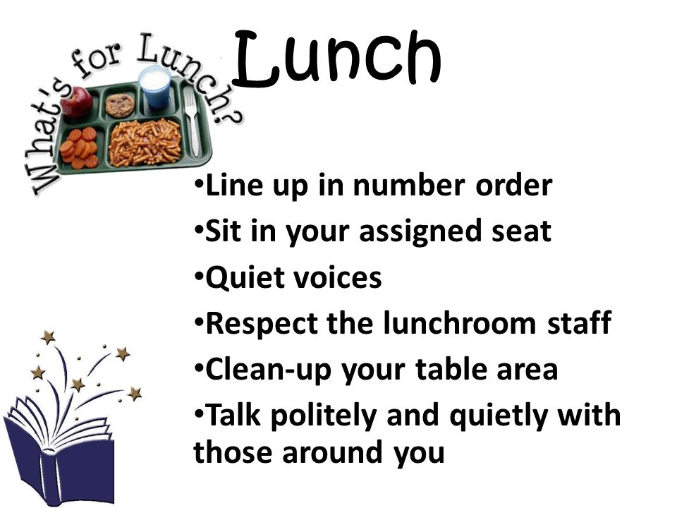 Lunch Line up in number order Sit in your assigned seat Quiet voices Respect the lunchroom staff Clean-up your table area Talk politely and quietly with those around you
