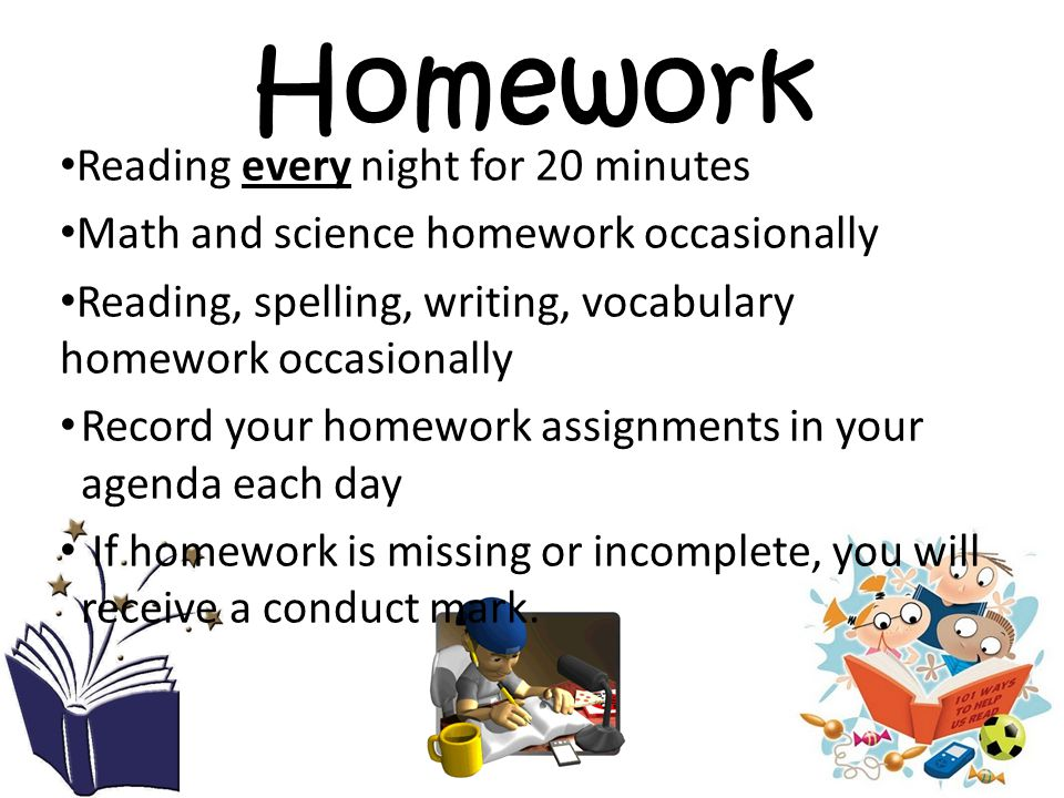 Homework Reading every night for 20 minutes Math and science homework occasionally Reading, spelling, writing, vocabulary homework occasionally Record your homework assignments in your agenda each day If homework is missing or incomplete, you will receive a conduct mark.