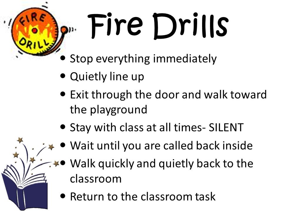 Fire Drills Stop everything immediately Quietly line up Exit through the door and walk toward the playground Stay with class at all times- SILENT Wait until you are called back inside Walk quickly and quietly back to the classroom Return to the classroom task
