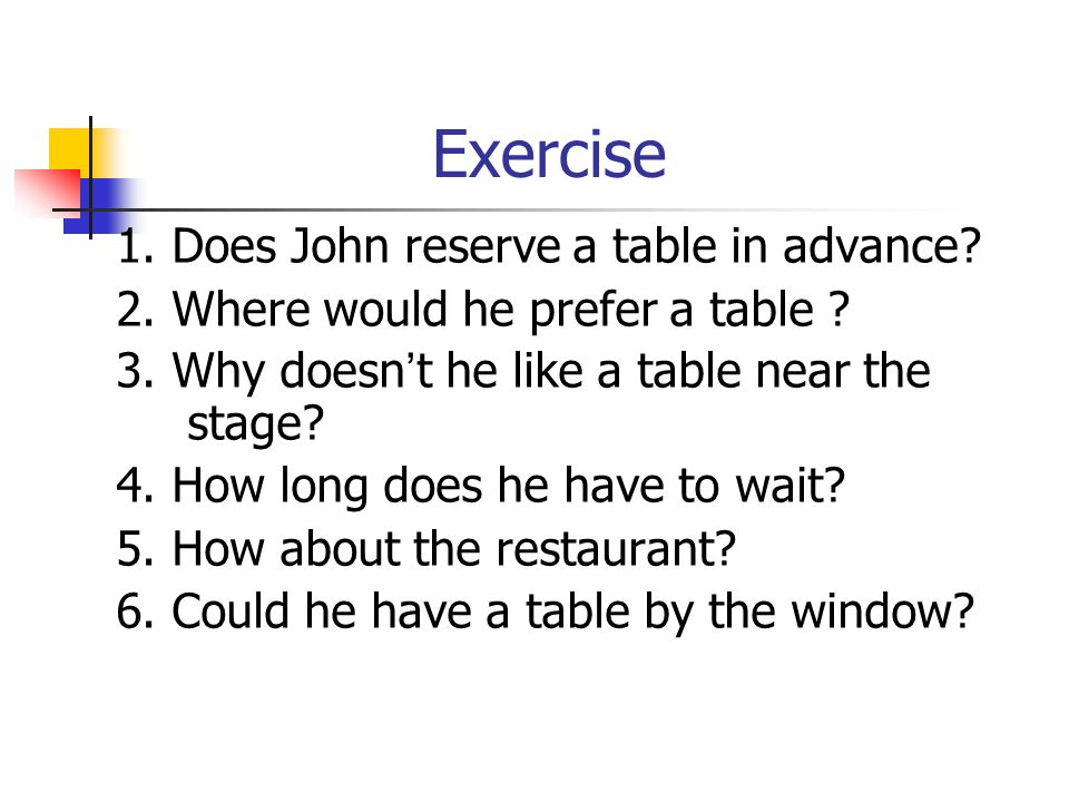 Exercise 1. Does John reserve a table in advance.