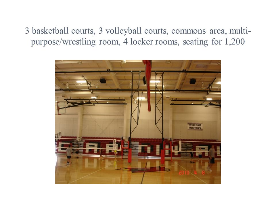 3 basketball courts, 3 volleyball courts, commons area, multi- purpose/wrestling room, 4 locker rooms, seating for 1,200