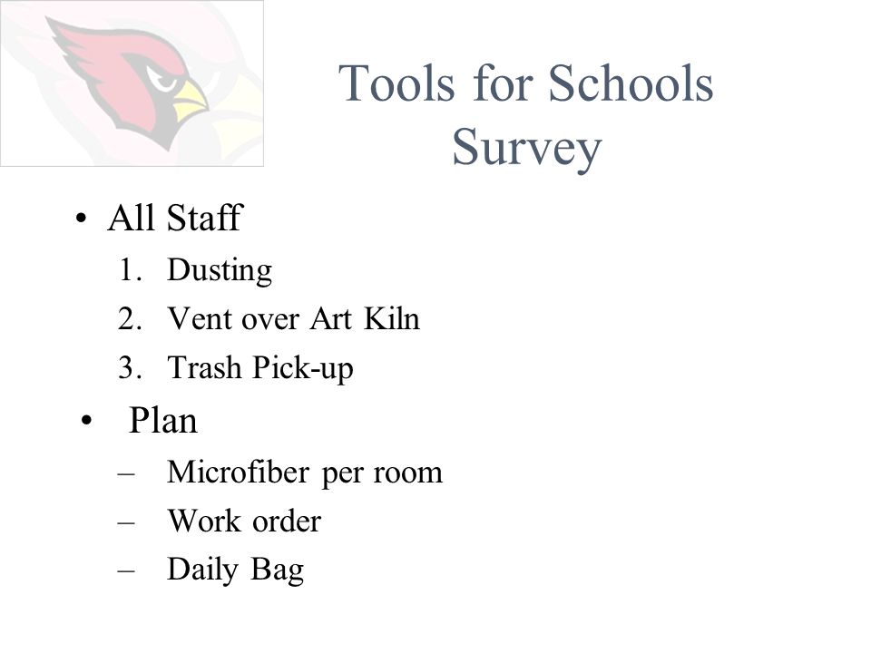 Tools for Schools Survey All Staff 1.Dusting 2.Vent over Art Kiln 3.Trash Pick-up Plan –Microfiber per room –Work order –Daily Bag