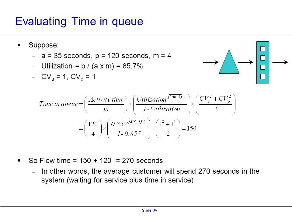 Slide 37  Suppose:  a = 35 seconds, p = 120 seconds, m = 4  Utilization = p / (a x m) = 85.7%  CV a = 1, CV p = 1  So Flow time = 150 + 120 = 270 seconds.