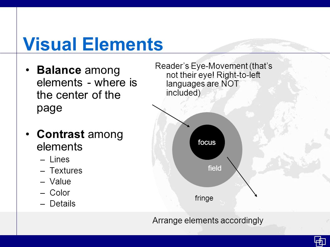 Visual Elements Balance among elements - where is the center of the page Contrast among elements –Lines –Textures –Value –Color –Details Reader's Eye-Movement (that's not their eye.