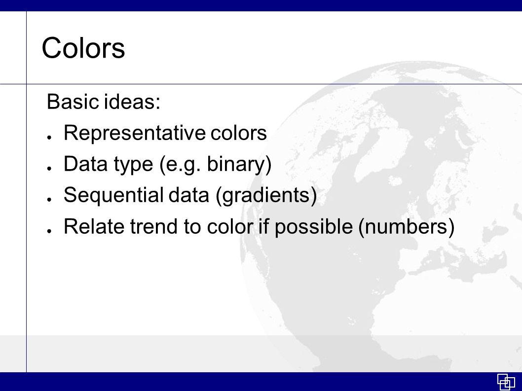 Colors Basic ideas: ● Representative colors ● Data type (e.g.