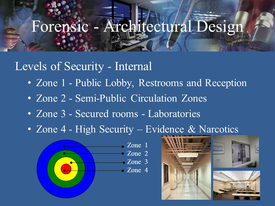 Forensic - Architectural Design Site Issues Controlled entry points Adjacent to clients Secured parking – Staff & Evidence contributors Parking o Visitors o Evidence contributor o Staff o Crime laboratory vehicles Future expansion potential Blast zone clearance