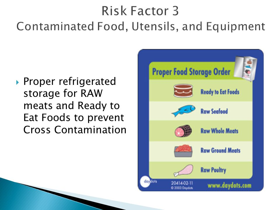  Proper refrigerated storage for RAW meats and Ready to Eat Foods to prevent Cross Contamination