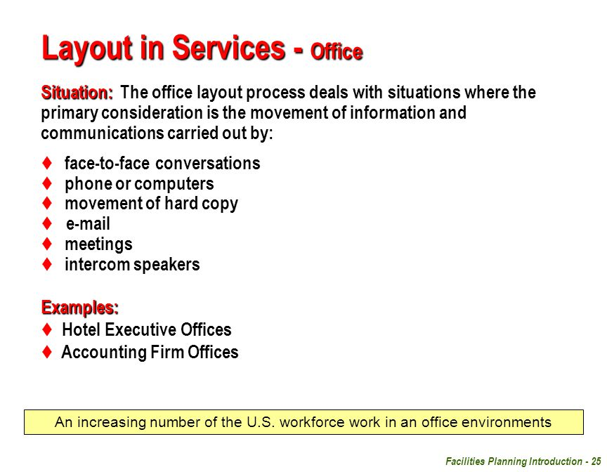 Facilities Planning Introduction - 25 Layout in Services - Office Situation: Situation: The office layout process deals with situations where the prim