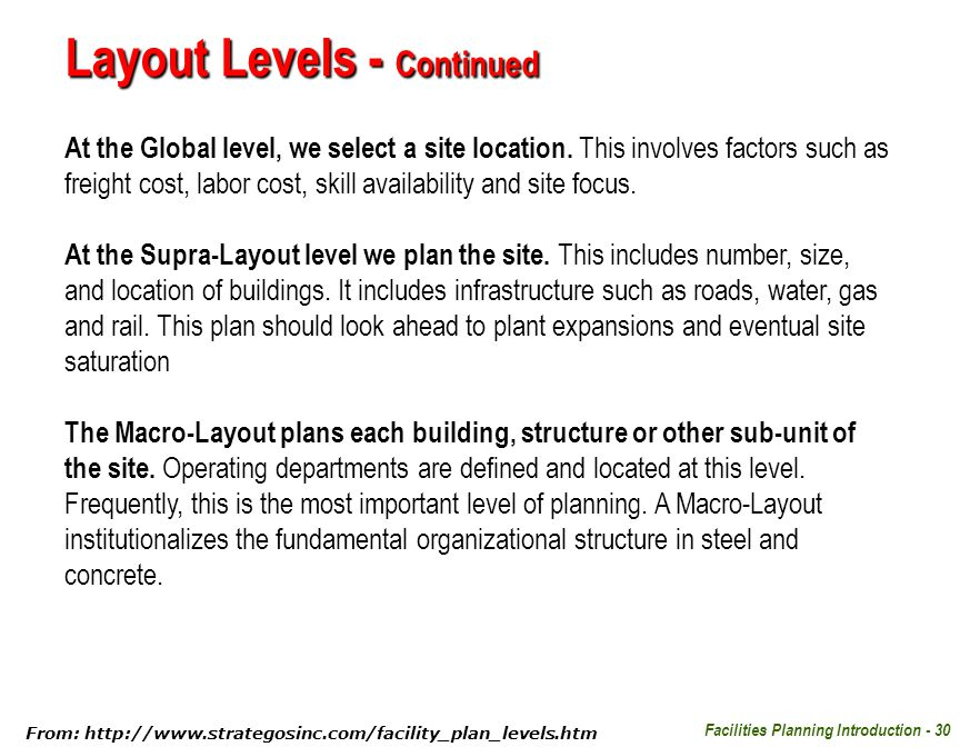 Facilities Planning Introduction - 30 Layout Levels - Continued At the Global level, we select a site location. This involves factors such as freight