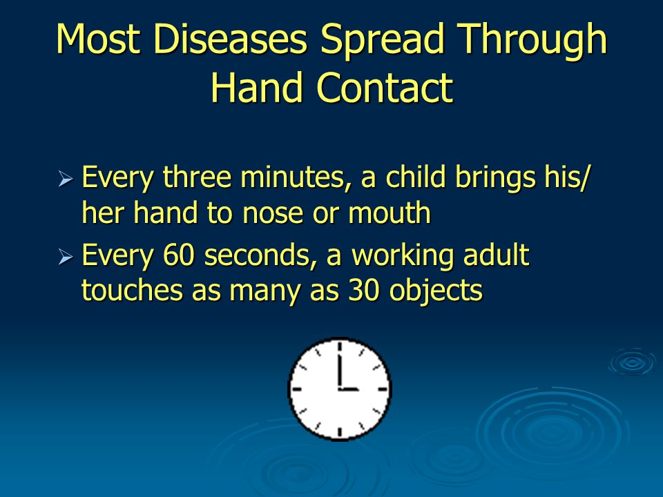 Most Diseases Spread Through Hand Contact  Every three minutes, a child brings his/ her hand to nose or mouth  Every 60 seconds, a working adult touches as many as 30 objects
