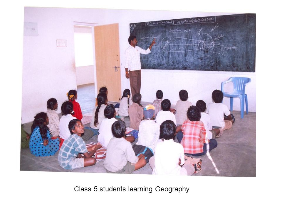Class 5 students learning Geography