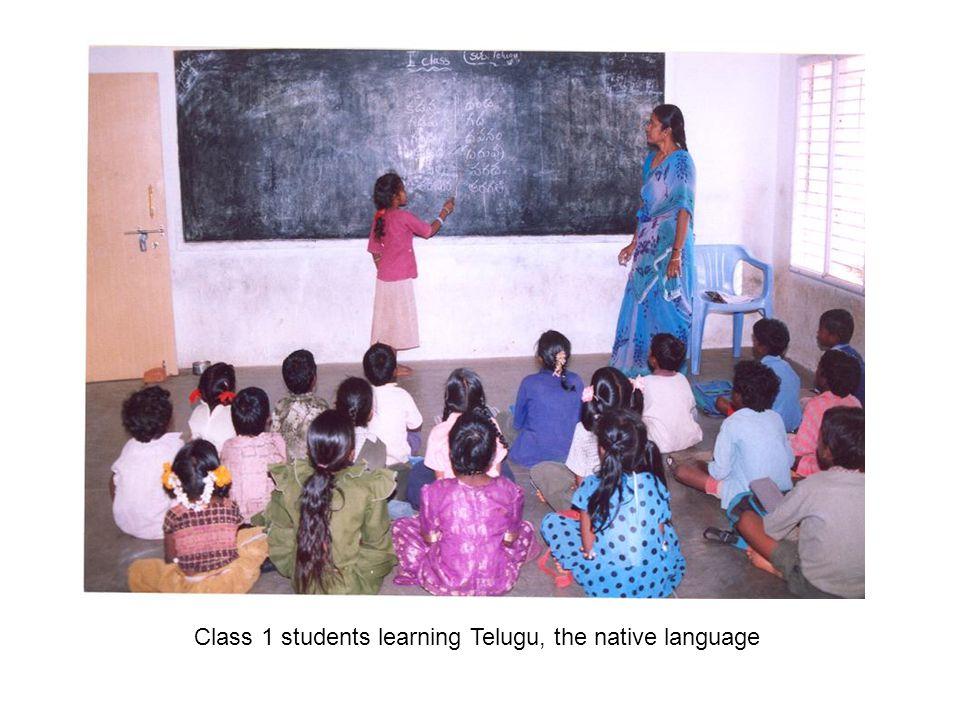 Class 1 students learning Telugu, the native language
