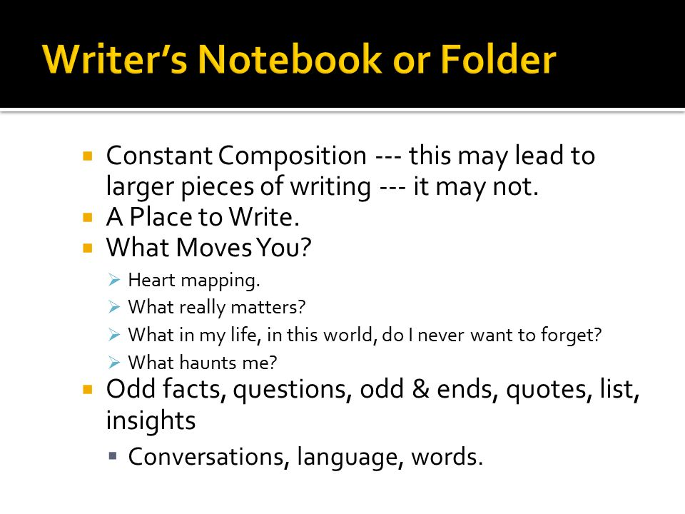 Constant Composition --- this may lead to larger pieces of writing --- it may not.