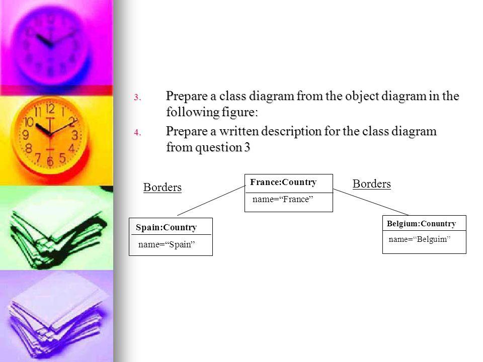 3. Prepare a class diagram from the object diagram in the following figure: 4. Prepare a written description for the class diagram from question 3 Bor