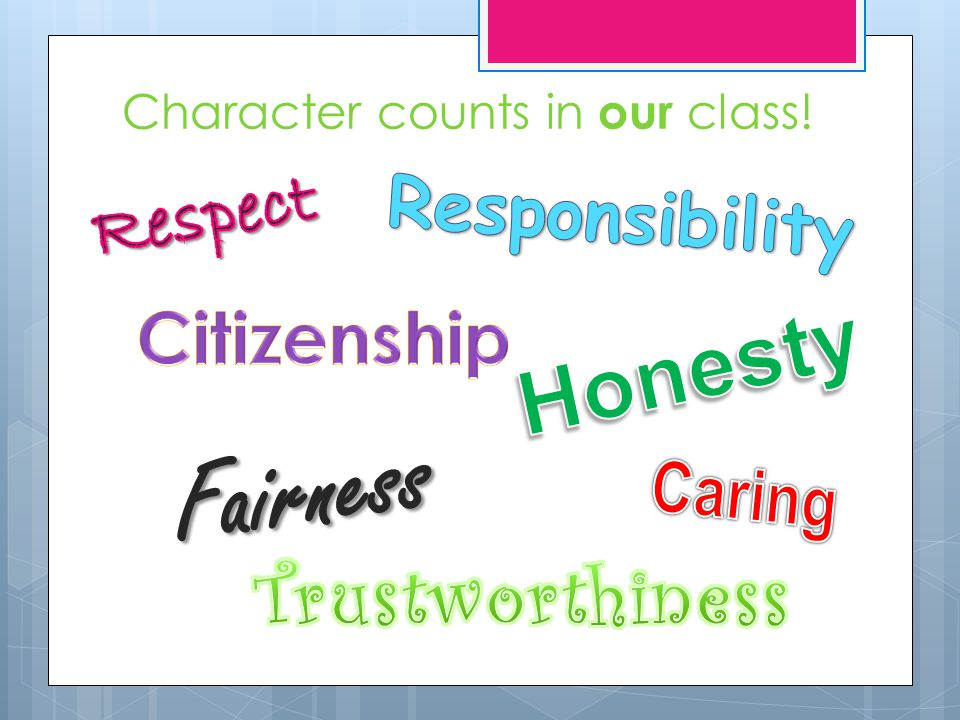 Character counts in our class!