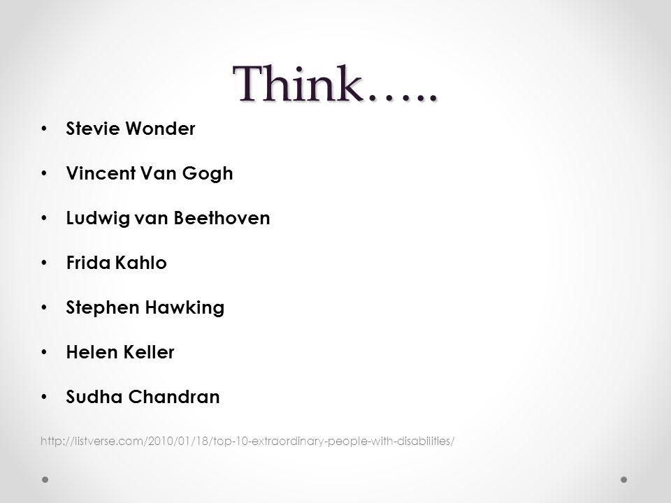Think….. Stevie Wonder Vincent Van Gogh Ludwig van Beethoven Frida Kahlo Stephen Hawking Helen Keller Sudha Chandran http://listverse.com/2010/01/18/t