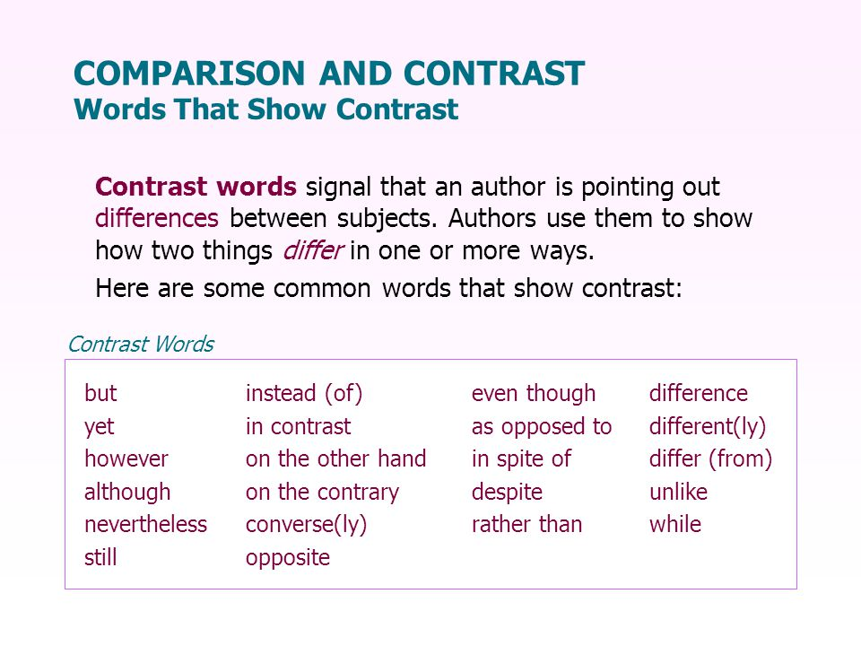 COMPARISON AND CONTRAST Words That Show Contrast Contrast words signal that an author is pointing out differences between subjects.