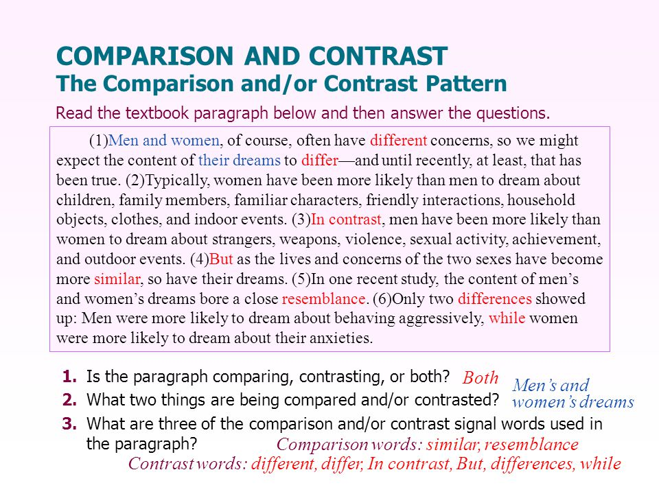 1.Is the paragraph comparing, contrasting, or both.